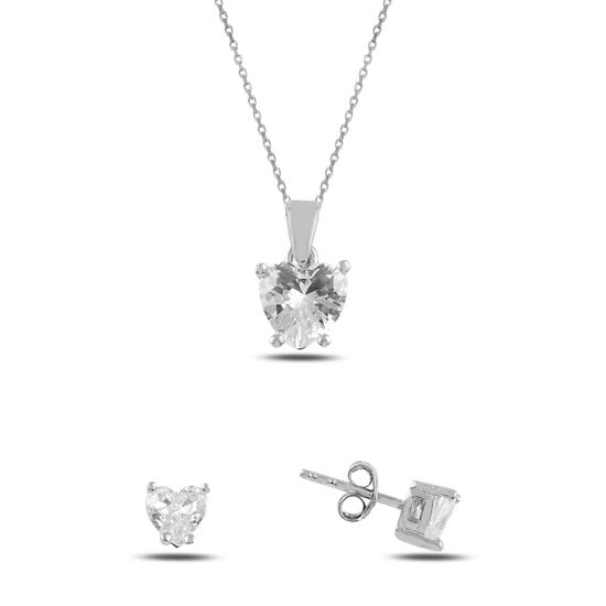 Ürün resmi: Rodyum Kaplama Kalp Tektaş Zirkon Taşlı Gümüş Bayan Set