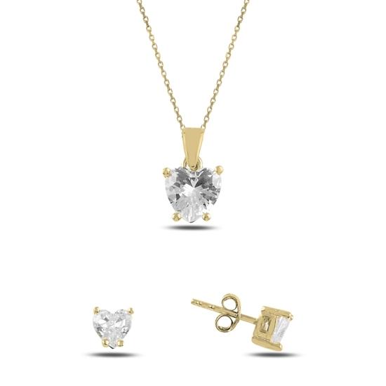 Ürün resmi: Altın Kaplama Kalp Tektaş Zirkon Taşlı Gümüş Bayan Set