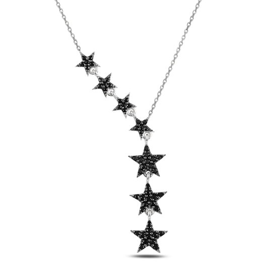 Ürün resmi: Rodyum Kaplama Kayan Yıldızlar Siyah Zirkon Taşlı Sallantılı Gümüş Bayan Kolye
