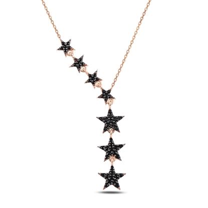 Resim Rose Kaplama Kayan Yıldızlar Siyah Zirkon Taşlı Sallantılı Gümüş Bayan Kolye