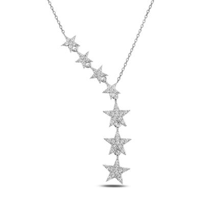 Resim Rodyum Kaplama Kayan Yıldızlar Zirkon Taşlı Sallantılı Gümüş Bayan Kolye