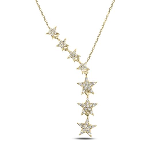 Ürün resmi:  Altın Kaplama Kayan Yıldızlar Zirkon Taşlı Sallantılı Gümüş Bayan Kolye