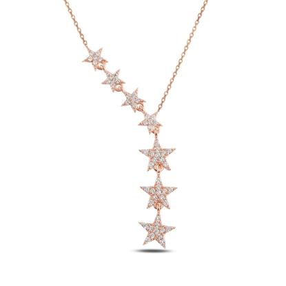 Resim Rose Kaplama Kayan Yıldızlar Zirkon Taşlı Sallantılı Gümüş Bayan Kolye