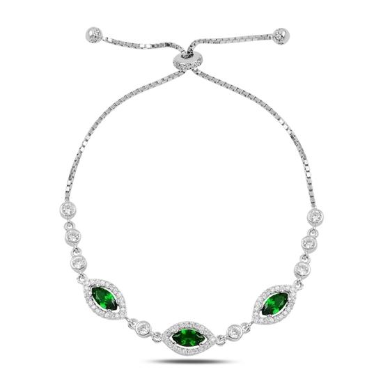 Ürün resmi: Zümrüt Zirkon (Yeşil) Mekik Renkli Zirkon Taşlı Gümüş Bayan Asansörlü Bileklik