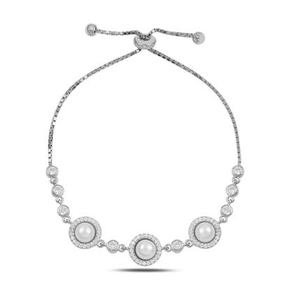 Resim Rodyum Kaplama İnci & Zirkon Taşlı Gümüş Bayan Asansörlü Bileklik