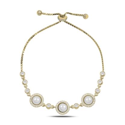 Resim Altın Kaplama İnci & Zirkon Taşlı Gümüş Bayan Asansörlü Bileklik