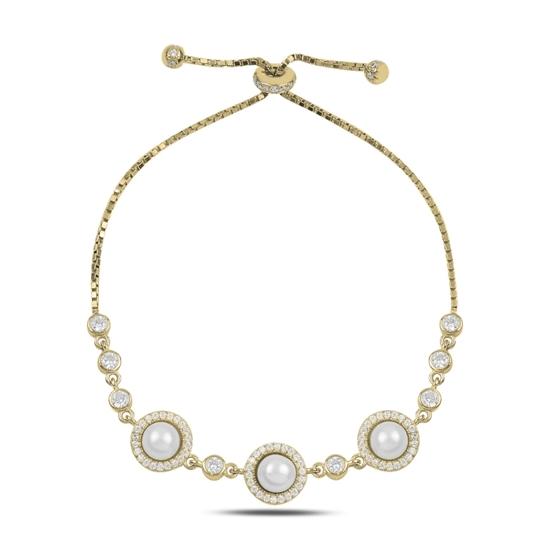 Ürün resmi: Altın Kaplama İnci & Zirkon Taşlı Gümüş Bayan Asansörlü Bileklik