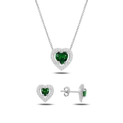 Resim Zümrüt Zirkon (Yeşil) Kalp Renkli Zirkon Taşlı Tektaş Gümüş Bayan Set
