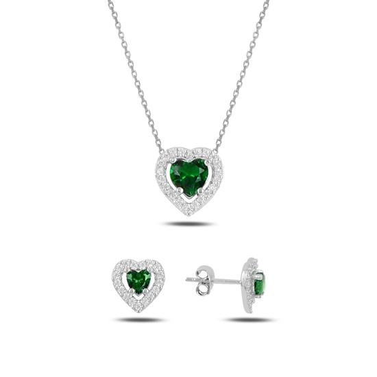 Ürün resmi: Rodyum Kaplama Zümrüt Zirkon (Yeşil) Kalp Renkli Zirkon Taşlı Tektaş Gümüş Bayan Set