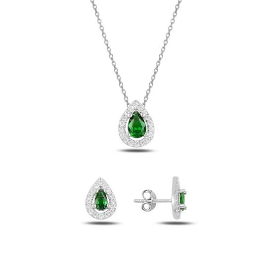 Ürün resmi: Rodyum Kaplama Zümrüt Zirkon (Yeşil) Damla Renkli Zirkon Taşlı Gümüş Bayan Set