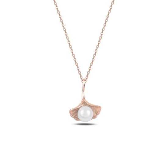 Ürün resmi: Rose Kaplama İncili Gümüş Bayan Kolye