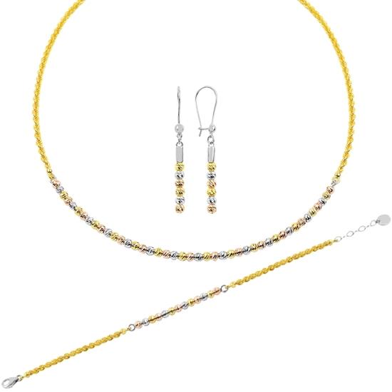 Ürün resmi: Rodyum Kaplama 3 Renk Dorica Toplu Gümüş Bayan Set