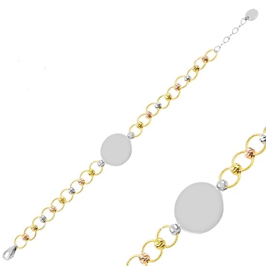 Ürün resmi: Rodyum Kaplama 3 Renk Dorica Toplu Plaka Gümüş Bayan Bileklik