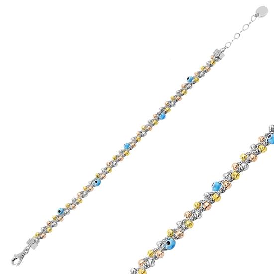 Ürün resmi: Rodyum Kaplama 3 Renk Dorica Top & Göz Gümüş Bayan Bileklik