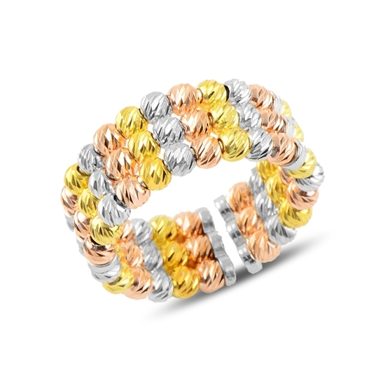 Ürün resmi: 3 Renk Dorica Top 3 Sıra Gümüş Bayan Yüzük