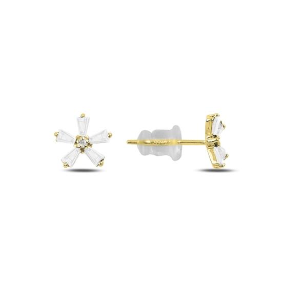 Ürün resmi: Altın Kaplama Zirkon Taşlı Çiçek Gümüş Küpe