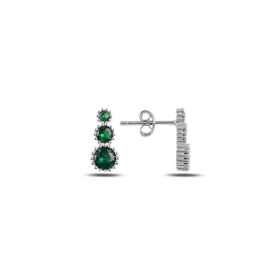 Ürün resmi: Zümrüt Zirkon (Yeşil) Süzme Renkli Zirkon Taşlı Gümüş Küpe