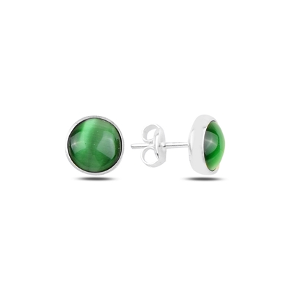 Resim Yeşil Kedi Gözü Gümüş Küpe