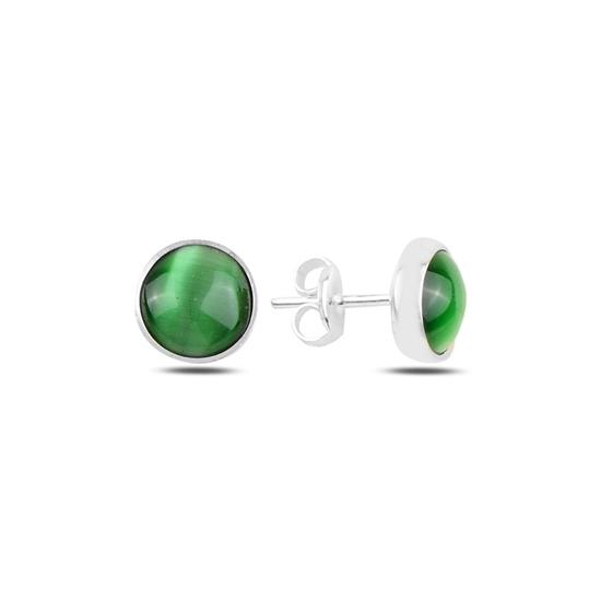 Ürün resmi: Yeşil Kedi Gözü Gümüş Küpe