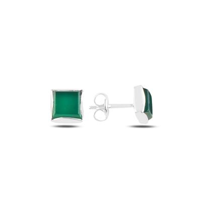 Resim Yeşil Akik Doğal Taşlı Gümüş Küpe