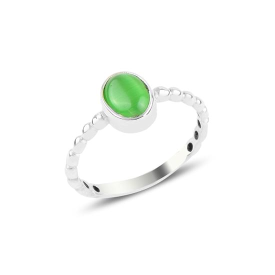 Ürün resmi: Yeşil Kedi Gözü Tektaş Gümüş Bayan Yüzük