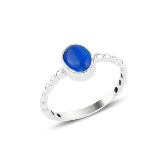 Ürün resmi: Mavi Kedi Gözü Tektaş Gümüş Bayan Yüzük