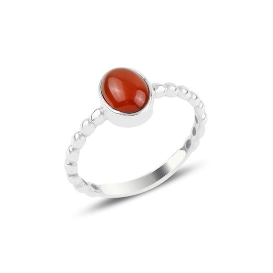 Ürün resmi: Kırmızı Akik Tektaş Gümüş Bayan Yüzük