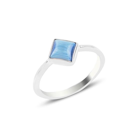 Ürün resmi: Açık Mavi Kedi Gözü Kare Tektaş Gümüş Bayan Yüzük
