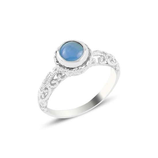 Ürün resmi: Açık Mavi Kedi Gözü Tektaş Gümüş Bayan Yüzük