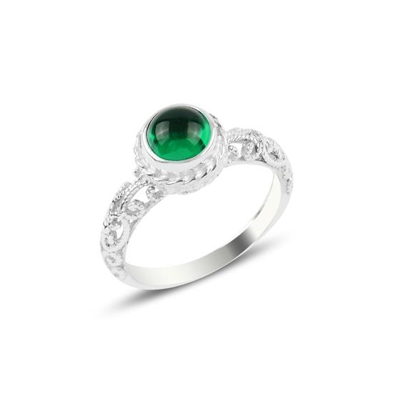 Ürün resmi: Yeşil Zirkon Tektaş Gümüş Bayan Yüzük