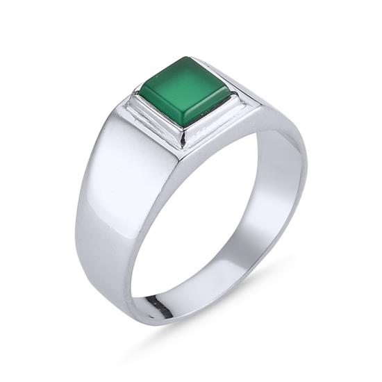Ürün resmi: Rodyum Kaplama Yeşil Akik Taşlı Gümüş Erkek Yüzük