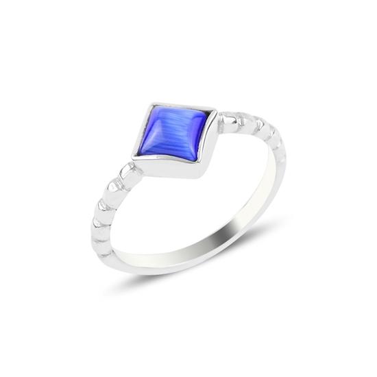Ürün resmi: Mavi Kedigözü Tektaş Gümüş Bayan Yüzük