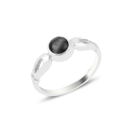 Ürün resmi: Siyah Kedigözü Tektaş Gümüş Bayan Yüzük