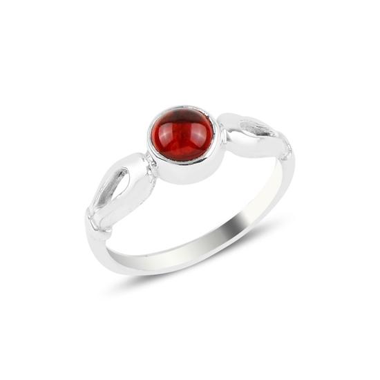 Ürün resmi: Kırmızı Zirkon Tektaş Gümüş Bayan Yüzük