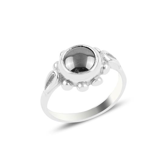 Ürün resmi: Hematit Papatya Tektaş Gümüş Bayan Yüzük