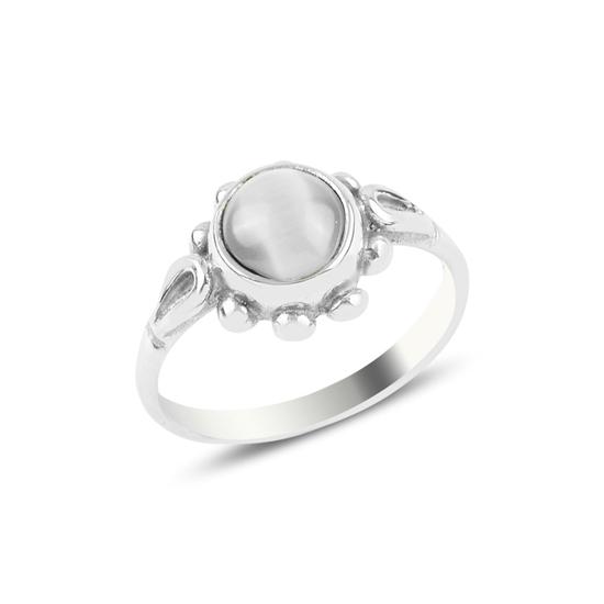 Ürün resmi: Beyaz Kedigözü Papatya Tektaş Gümüş Bayan Yüzük
