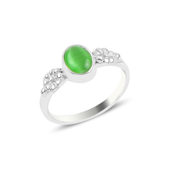 Ürün resmi: Yeşil Kedigözü Tektaş Gümüş Bayan Yüzük