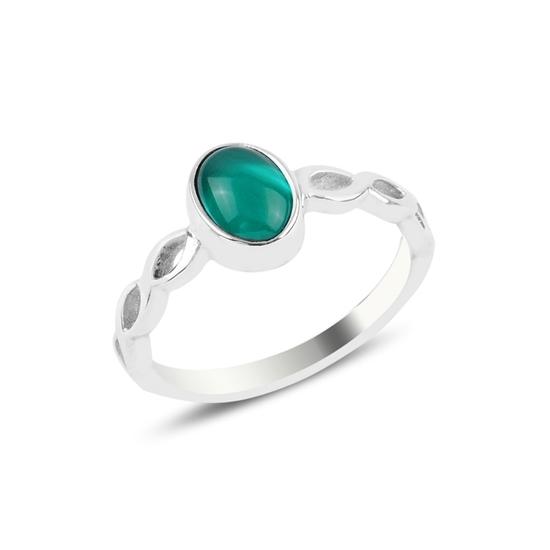 Ürün resmi: Yeşil Akik Tektaş Gümüş Bayan Yüzük