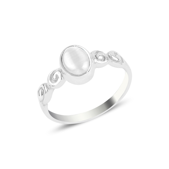 Ürün resmi: Beyaz Kedigözü Tektaş Gümüş Bayan Yüzük
