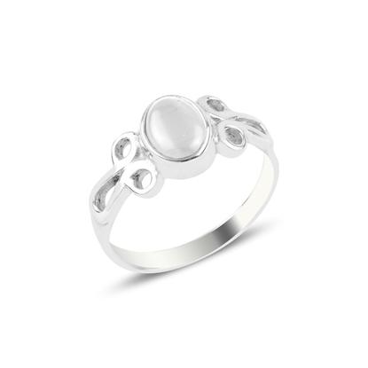 Resim Beyaz Kedigözü Tektaş Gümüş Bayan Yüzük