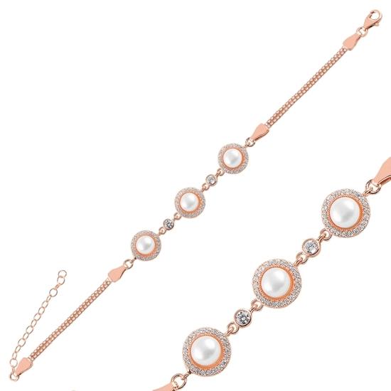 Ürün resmi: Rose Kaplama İnci & Zirkon Taşlı Küp Zincirli Gümüş Bayan Bileklik