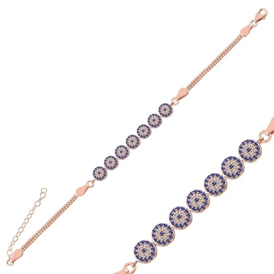 Ürün resmi: Rose Kaplama Zirkon Taşlı Göz Küp Zincirli Gümüş Bayan Bileklik