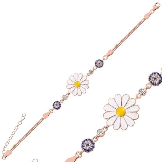 Ürün resmi: Rose Kaplama Zirkon Taşlı & Mineli Papatya & Göz Küp Zincirli Gümüş Bayan Bileklik