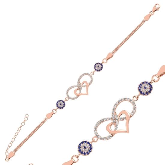 Ürün resmi: Rose Kaplama Zirkon Taşlı Sonsuzluk, Kalp & Göz Küp Zincirli Gümüş Bayan Bileklik