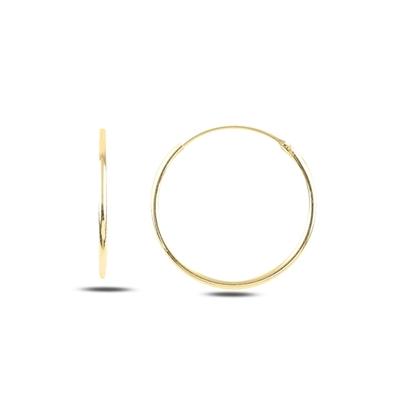 Resim Altın Kaplama 20mm Sade Halka Gümüş Küpe