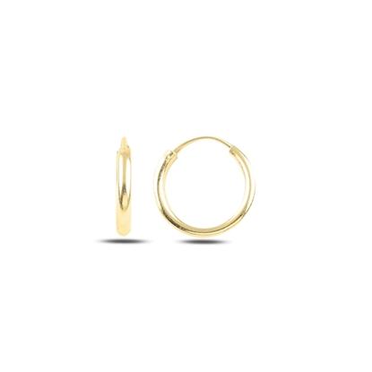 Resim Altın Kaplama 16mm Sade Halka Gümüş Küpe