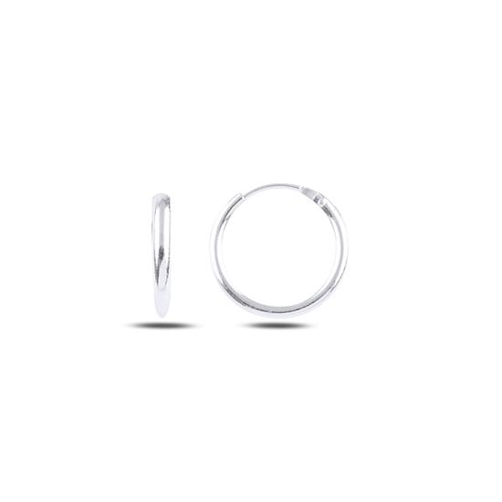Ürün resmi: Rodyum Kaplama 14mm Sade Halka Gümüş Küpe