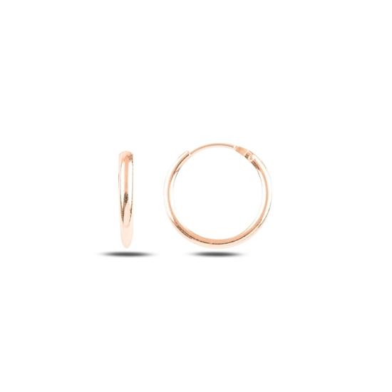 Ürün resmi: Rose Kaplama 14mm Sade Halka Gümüş Küpe
