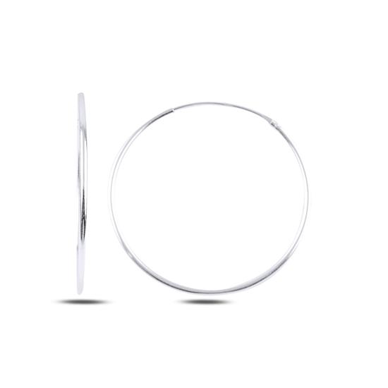 Ürün resmi: Rodyum Kaplama 30mm Sade Halka Gümüş Küpe