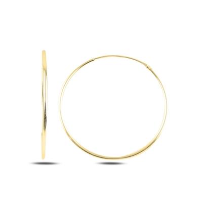 Resim Altın Kaplama 30mm Sade Halka Gümüş Küpe